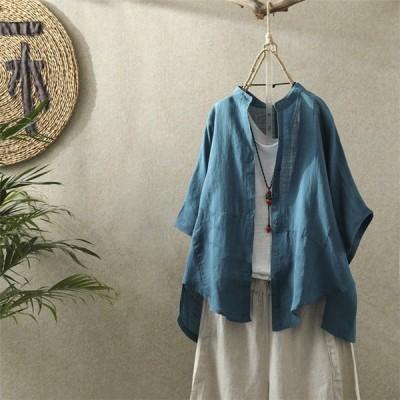 シャツブラウス レディース 半袖 シャツ ブラウス トップス リネン 亜麻風 涼しい 無地 体型カバー 大きいサイズ 薄手 ゆったり シンプル ベーシック カジュアル