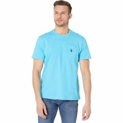 ユーエスポロアッスン U.S. POLO ASSN. メンズ Tシャツ ポケット トップス Solid Crew Neck Pocket T-Shirt Aquarius Blue