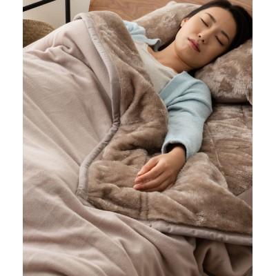 ベッド 寝具 【EMOORHEAT】エムールヒート(R)2枚合わせ綿入り毛布/シングル