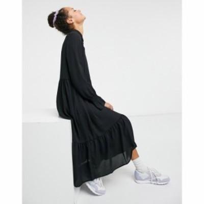 モンキ Monki レディース ワンピース ミドル丈 ワンピース・ドレス Parly recycled midi smock dress in black ブラック