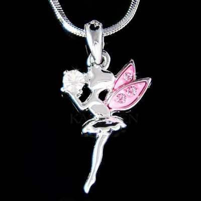ネックレス インポート スワロフスキ クリスタル ジュエリー Pink TINKERBELL Magic Ball made with Swarovski Crystal Angel Fairy Necklace CUTE