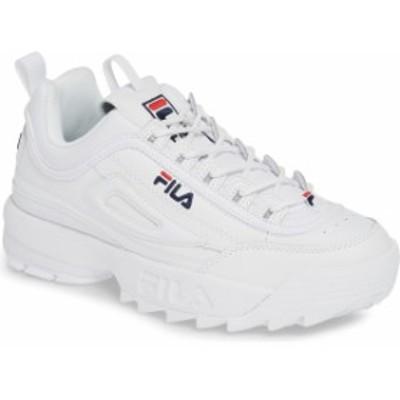 フィラ レディース スニーカー シューズ FILA Disruptor II Premium Sneaker (Women) White/ Navy/ Fila Red
