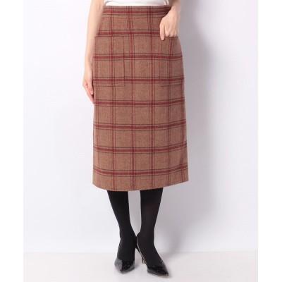 【アナイ】 チェックリバータイトスカート レディース レッド 38 ANAYI