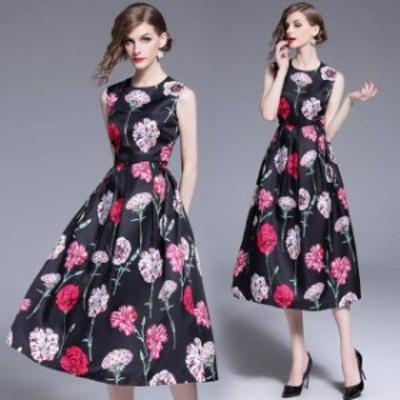 2020年新作 送料無料 結婚式 パーティードレス ぽっちゃり S-3L 大きいサイズ 袖あり ノースリーブ 花柄 プリント ロングドレス ワンピー
