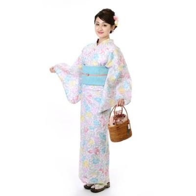 浴衣 撫松庵 ブランド 女性 ゆかた 単品 変わり絽 綿100% 日本製 白 金魚