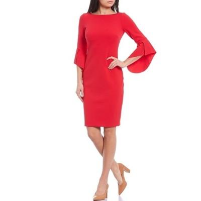 ヴィンスカムート レディース ワンピース トップス Asymmetrical 3/4 Sleeve Crepe Sheath Dress Cherry