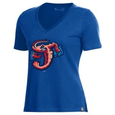 アンダーアーマー レディース Tシャツ トップス Jacksonville Jumbo Shrimp Under Armour Women's Performance V-Neck T-Shirt Royal