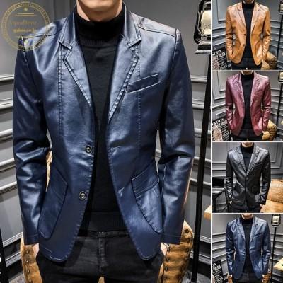 メンズライダースジャケット韓国ファッションバイクジャケットアウターPUレザー細身お兄系レザージャケットビジネスジャケット