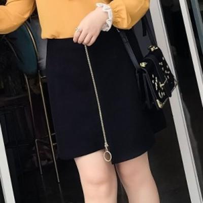 レディース スカート 台形スカート ジッパー ハイウエスト ミニ丈 ボトムス ブラック 黒 L XL 2XL 3XL 4XL 5XL 送料無料