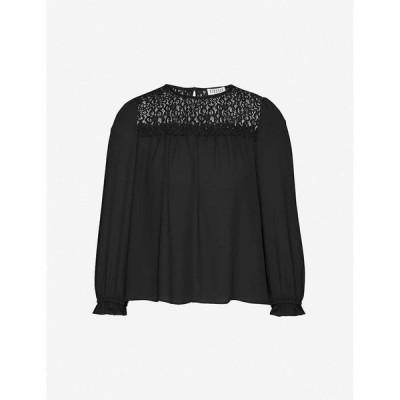 クローディ ピエルロ CLAUDIE PIERLOT レディース ブラウス・シャツ トップス Lace-panel crepe top BLACK