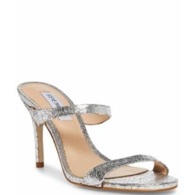 スティーブ マデン レディース ヒール シューズ Rosalina Crackle Leather Dress Mules Silver
