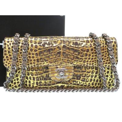 美品 シャネル クロコダイル Wチェーン ゴールド 11番台 ココマーク ターンロック ショルダーバッグ バッグ 金 0354 CHANEL