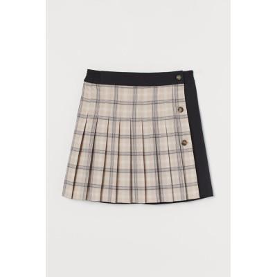 H&M - プリーツスカート - ベージュ