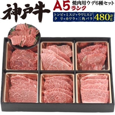 6種類の部位を贅沢食べ比べ♪ 【A5ランク 神戸牛 ウデ(カタ肉) 焼肉セット 合計480g】約3~4人用 BBQ バーベキュー 熨斗対応 お中元にも