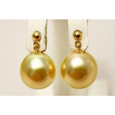 南洋白蝶真珠パールブラピアス 12mm ナチュラルゴールドカラー K18製