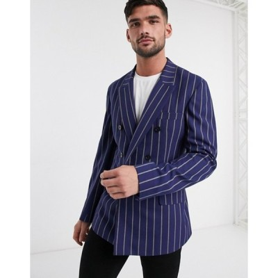 エイソス メンズ ジャケット・ブルゾン アウター ASOS DESIGN slim casual double breasted blazer in navy stripe