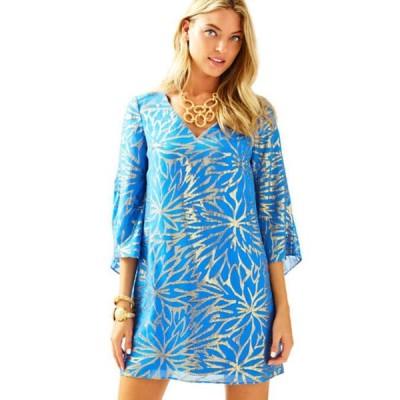 ワンピース リリーピュリッツァー Lilly Pulitzer Miri Silk Caftan Dress Lapis Blue Palm Burst Clip Jacquard 4