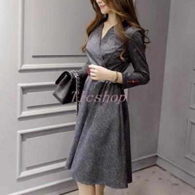 ワンピース(通勤オフィスOL)きれいめカシュクールお呼ばれ無地袖付き膝丈Aライン20代30代40代50代ファッション