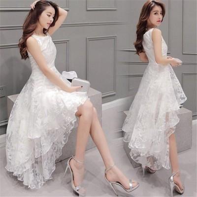 ドレス 結婚式 お呼ばれ ドレス パーディー ワンピース ドレス 白 ロング丈ワンピース オシャレ ノースリーブワンピース ドレス