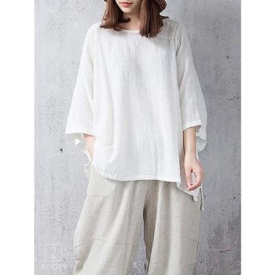 セカンドルーツ リネン ライク ゆったり カットソー Tシャツ 七分袖 ふんわり てぃーしゃつ 体型カバー ゆったり 普段着 部屋着 へやぎ