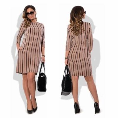 大きいサイズ L ~ 6XL ストライプ ゆったりウエスト 七分袖 オフィス ワンピース ミッドスカート ドレス 70382