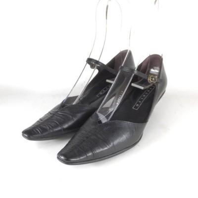 YOSHITO 靴 セール yoshito パンプス ヨシト 3709 クロ ポインテッドトゥ パンプス ストラップ Vカット 痛くないパンプス 履きやすいパンプス 小さいサイズ