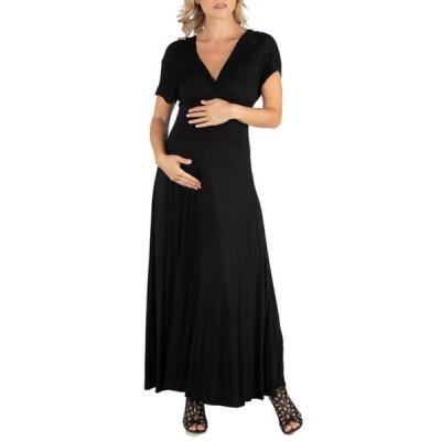 24セブンコンフォート レディース ワンピース トップス Maternity Cap Sleeve V Neck Maxi Dress