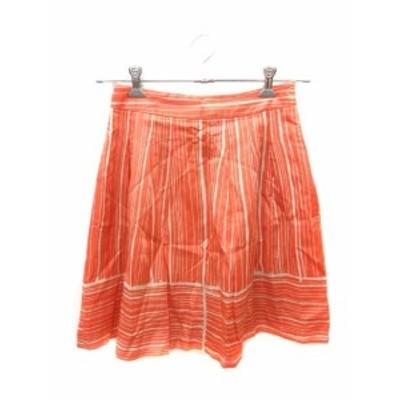 【中古】スピック&スパン Spick&Span スカート フレア ミニ ストライプ 絹 シルク 38 オレンジ /ST レディース