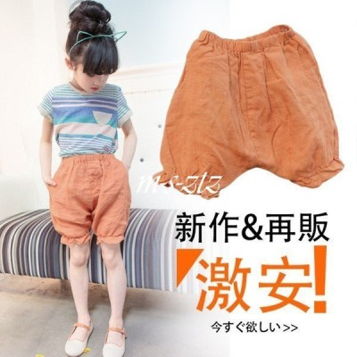 パンツ ショートパンツ リブ裾 ゆったり サルエルパンツ 子供服 無地 ウェストゴム デザイン 夏 ボトムス ゆったりパンツ キュー