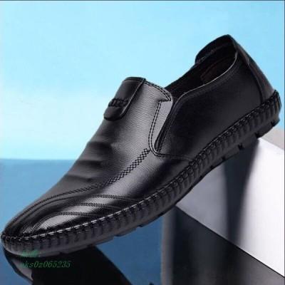 靴 男性 四季 レジャー カジュアルシューズ ブラック 仕事をする 男の人 足を組む 靴 正装 ビジネス 男靴 紳士靴 ローヒール 通勤 フォーマル