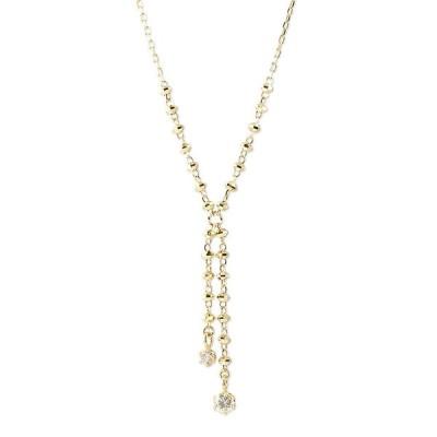 18金 ネックレス レディース ダイヤモンド ロング角アズキチェーン スライド式 46cm ゴールド 18k イエローゴールドk18 あすつく 送料無料