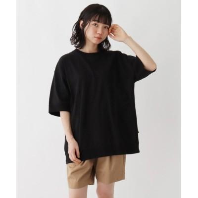 【ベースステーション】 抗菌防臭 ビッグシルエット リブ仕様 ロゴワンポイント刺繍Tシャツ レディース ブラック 99(FREE) BASE STATION