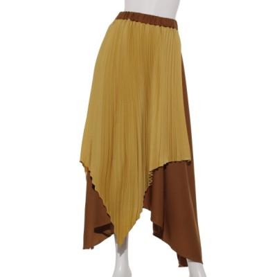 OSMOSIS (オズモーシス) レディース 【LOAF】バイカラーアシンメトリープリーツスカート YELLOW ONE