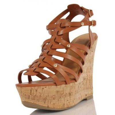 デリシャス レディース パンプス Delicious Women's Medium Faux Leather Open Toe Strappy Ankle Strap Cork Wedge