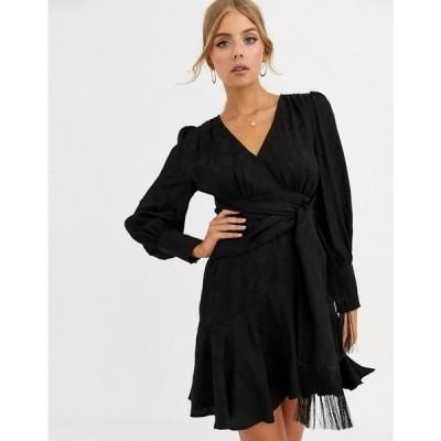 フォーエバーニュー Forever New レディース ワンピース ラップドレス ミニ丈 ワンピース・ドレス wrap tie mini dress in black ブラック