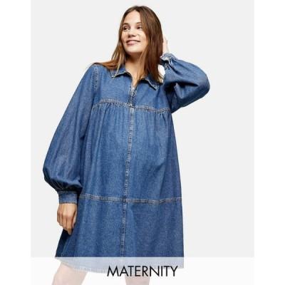 トップショップ マタニティー Topshop Maternity レディース ワンピース デニム ベビードール ワンピース・ドレス Denim Babydoll Dress In Blue ブルー