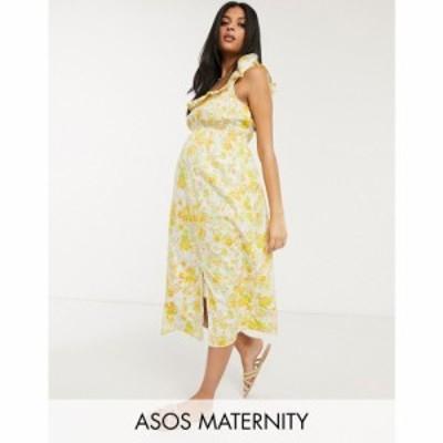 エイソス ASOS Maternity レディース ワンピース ASOS DESIGN Maternity cotton midi sundress with shirred waist in floral print