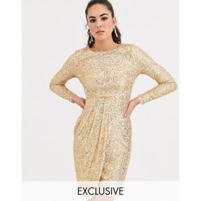 ティエフエヌシー レディース ワンピース トップス TFNC sequin midi wrap dress in gold