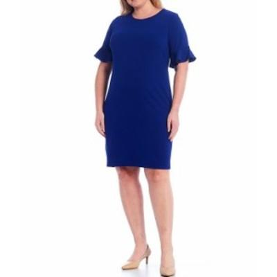 カルバンクライン レディース ワンピース トップス Plus Size Ruffle Sleeve Sheath Dress Ultramarine