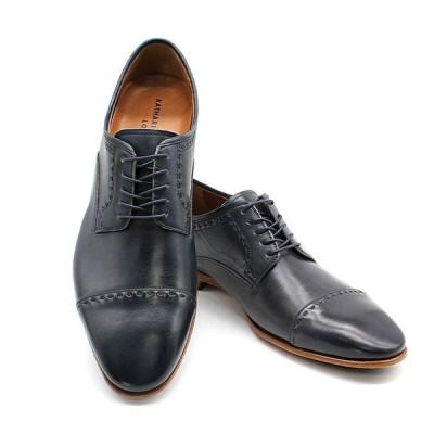 即日発送可 QUOカードプレゼント&ポイント15倍 キャサリンハムネットロンドン 31631 本革 レザーソール  革底 紐一文字 ビジネスシューズ 紳士靴 ネイビー