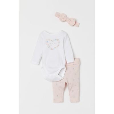 H&M - コットンジャージー3アイテムセット - ピンク