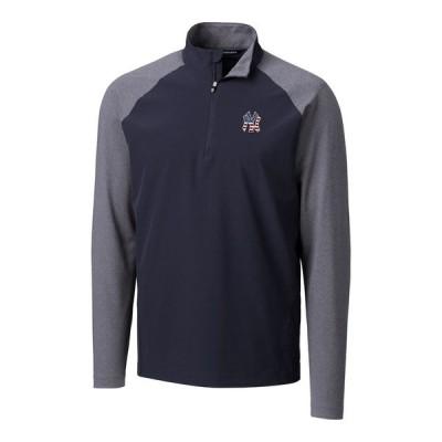"""メンズ ジャケット """"New York Yankees"""" Cutter & Buck Stars & Stripes Hybrid Overknit Quarter-Zip Pullover Jacket - Navy"""