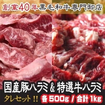 肉 2021 ギフト 国産 豚 ハラミ 500g と 特選 牛ハラミ 500g 計1kg たれセット付 送料無料