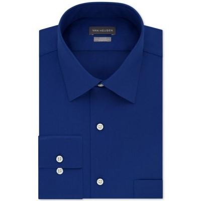 ヴァンハウセン メンズ シャツ トップス Men's Fitted Stretch Wrinkle Free Sateen Solid Dress Shirt