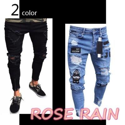 欧米風 メンズ バイカー デニム ジーンズ ファッション 伸縮性 欧米風 綿素材パンツ 人気商品 カッコいい ダメージ 2type