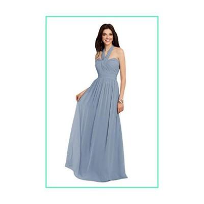 Halter Chiffon Long Bridesmaid Dress Dusty Blue Wedding Party Evening Gowns for Women Size 4並行輸入品