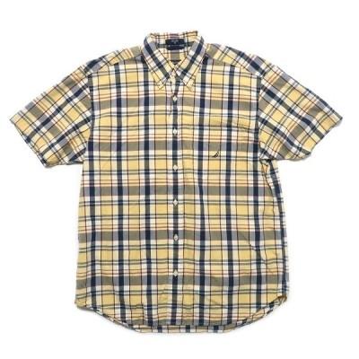 NAUTICA ノーティカ ワンポイント ロゴ ボタンダウン 半袖 チェックシャツ サイズ表記:M