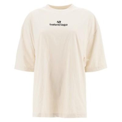 BALENCIAGA/バレンシアガ Tシャツ CHALKY WHITE BLACK Balenciaga sponsor t-shirt with logo レディース 秋冬2020 641532 TJVA9 ik