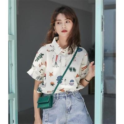 高レビュー可愛い 小さい新鮮な 短いスタイル 百掛け女の子 シャツ 女性 夏 学生 新しい 韓国 レトロ 半袖 ゆったりする カジュアル 女の子ファッション