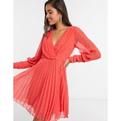 エイソス レディース ワンピース トップス ASOS DESIGN pleated wrap mini dress in dobby spot with pin tuck sleeves in red Poppy red